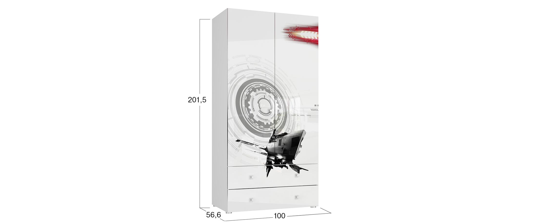 Шкаф 2-х дверный с  ящиками Модерн – Техно
